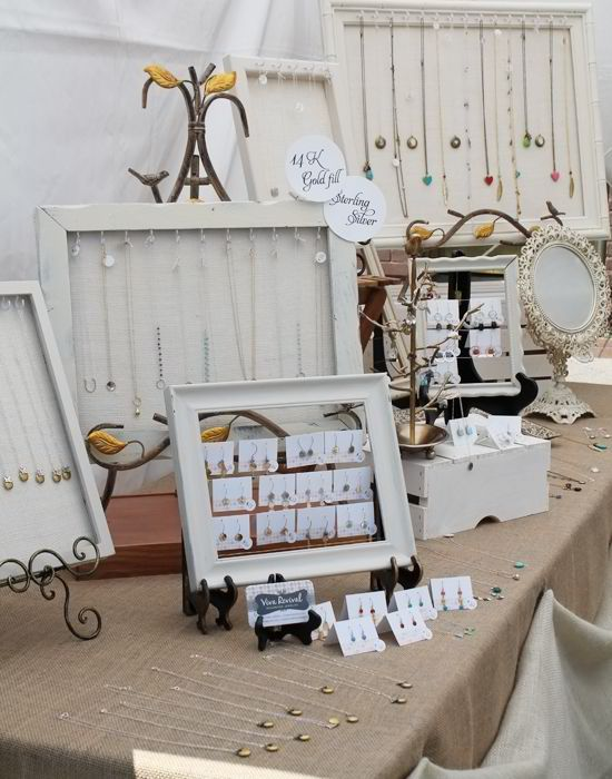 Elegant White Burlap Craft Show Table Cover By April Shurtleff Perfect For Your Jewelry Display