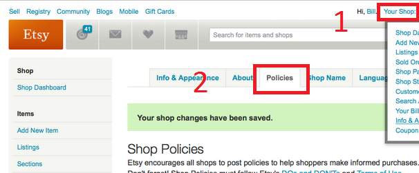 How to add clear policies in etsy with just one click | craft.