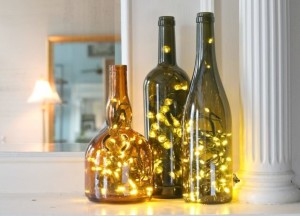 Christmas Lights in Wine Bottles