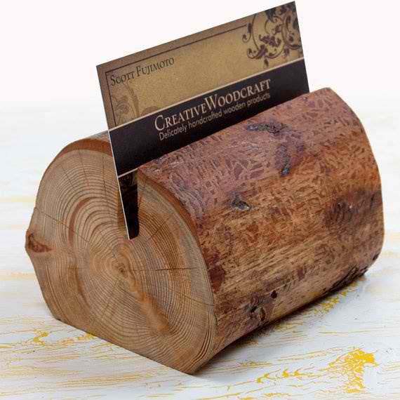 This Business Card Holder By Creative Woodcraft Teaches Us How We Can Transform An Ordinary Wood Into Something Useful